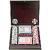 100 pc. 4 Aces Poker Chip Set with Mahogany Case - 11.5g