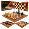 Deluxe Wooden Chess, Checker & Backgammon Set