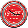 Large Deluxe Coca Cola Neon Clock - Two Neon Rings